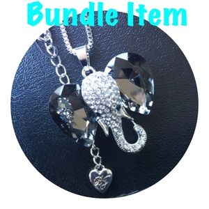 NWOT BJ Silver Crystal Elephant Necklace